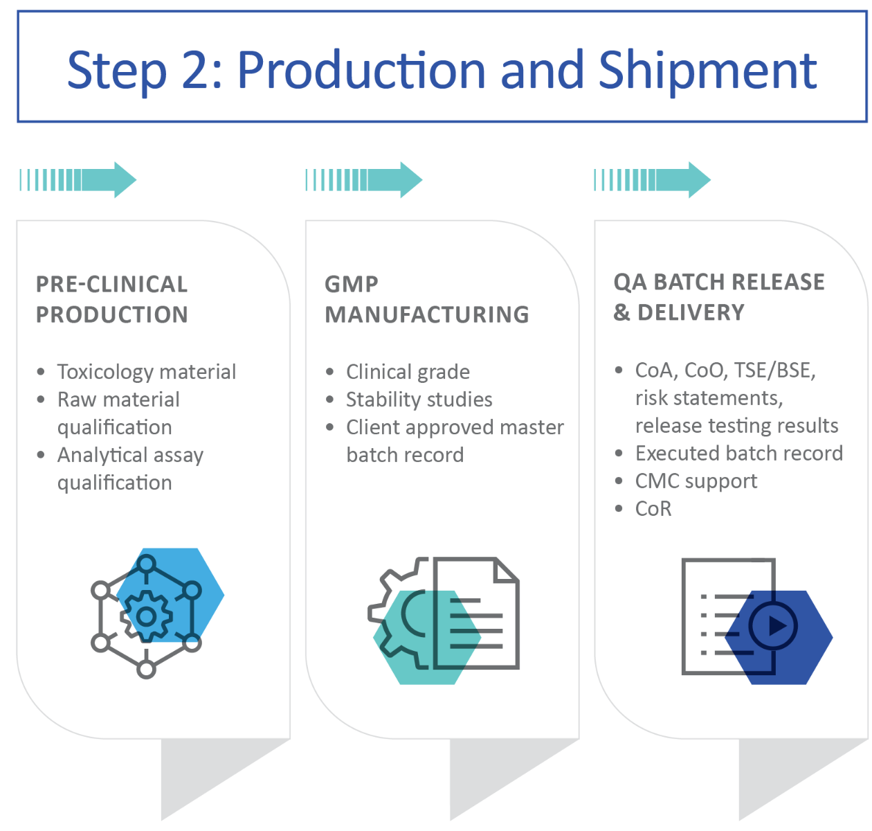 Image of a chart that demonstrates the process flow of the secondary steps in a GMP project.